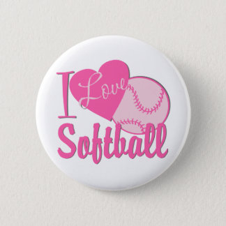 I Love Softball Pink 6 Cm Round Badge