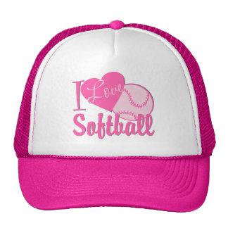 I Love Softball Pink Cap