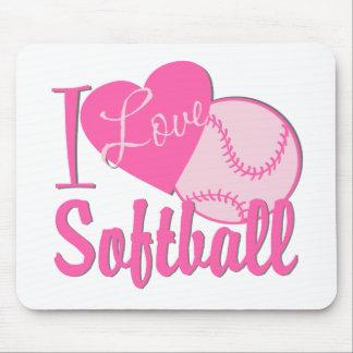 I Love Softball Pink Mouse Mat