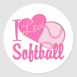I Love Softball Pink Round Sticker