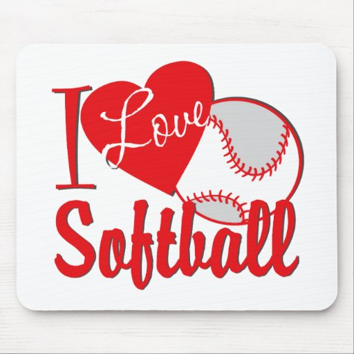 I Love Softball Red Mouse Pads