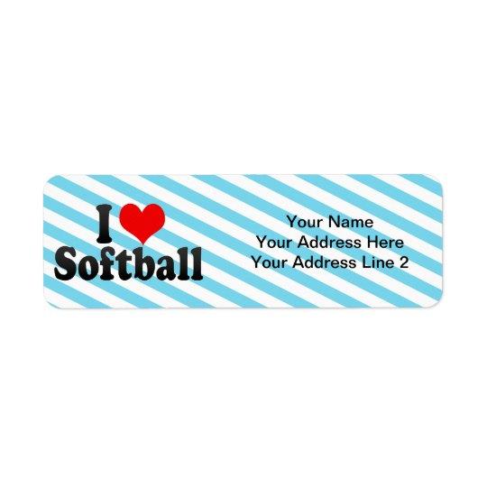 I Love Softball Return Address Label