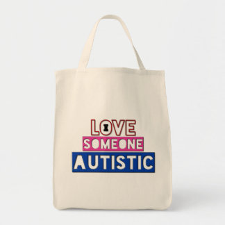 I Love Someone Autistic Grocery Tote Canvas Bag
