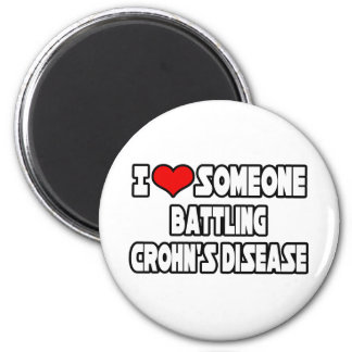 I Love Someone Battling Crohn's Disease 6 Cm Round Magnet