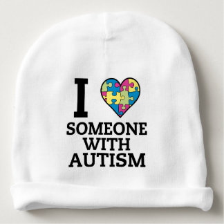 I LOVE SOMEONE WITH AUTISM BABY BEANIE