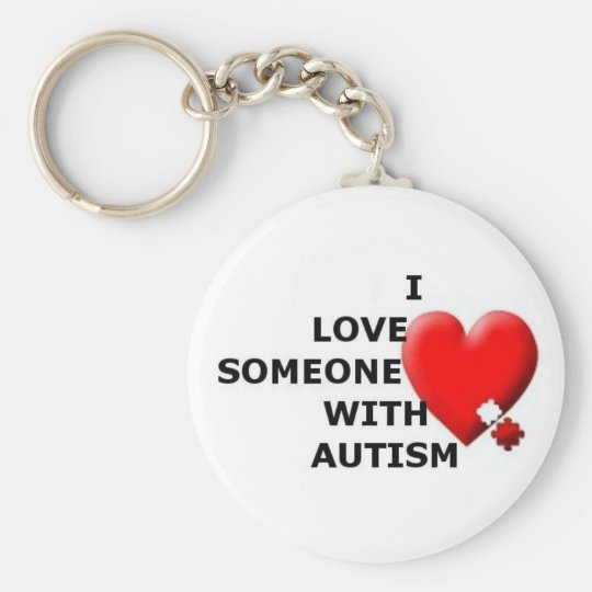 I Love Someone with Autism Basic Round Button Key Ring