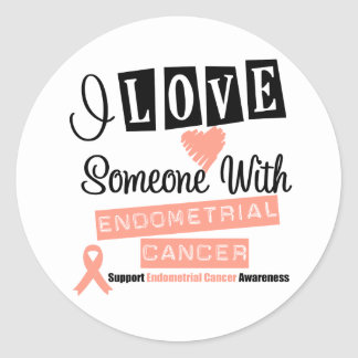 I Love Someone With Endometrial Cancer Classic Round Sticker