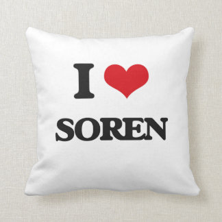 I Love Soren Throw Pillows