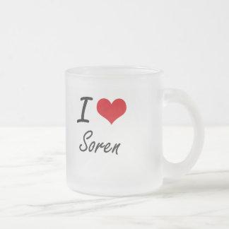 I Love Soren Frosted Glass Mug