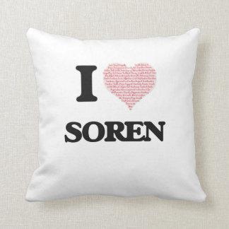 I Love Soren (Heart Made from Love words) Throw Cushions