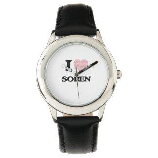I Love Soren (Heart Made from Love words) Wrist Watch