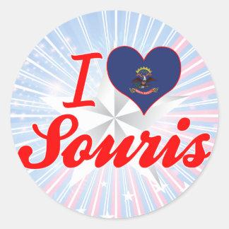 I Love Souris, North Dakota Round Stickers