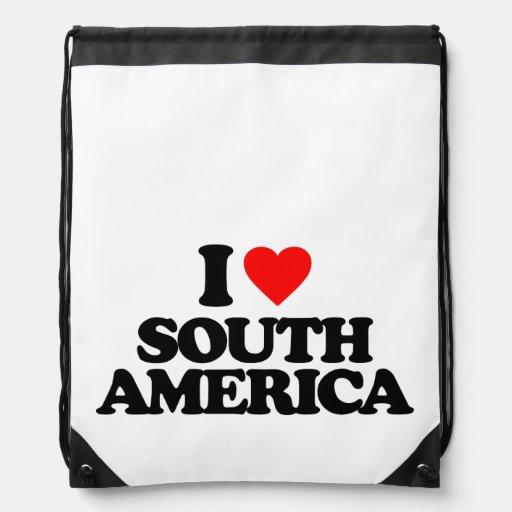I LOVE SOUTH AMERICA DRAWSTRING BACKPACK