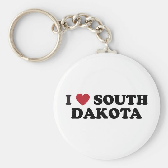 I Love South Dakota Basic Round Button Key Ring