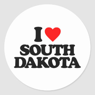 I LOVE SOUTH DAKOTA CLASSIC ROUND STICKER