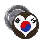 I Love South Korea Pinback Buttons