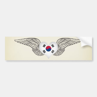 I Love South Korea -wings Bumper Sticker