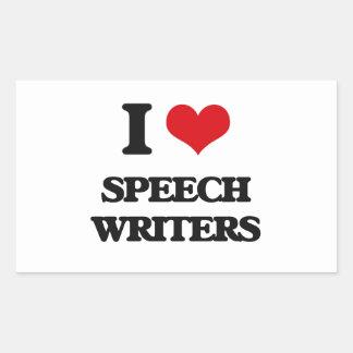 I love Speech Writers Rectangular Stickers