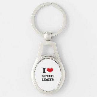 I love Speed Limits Silver-Colored Oval Key Ring