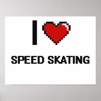I Love Speed Skating Digital Retro Design Poster