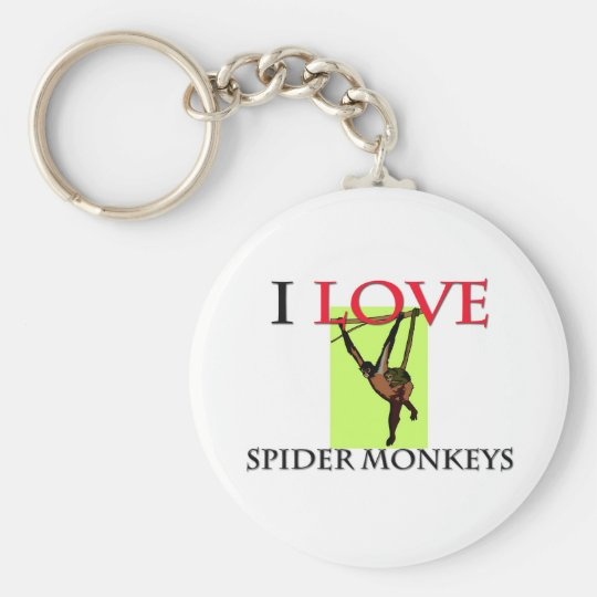 I Love Spider Monkeys Basic Round Button Key Ring