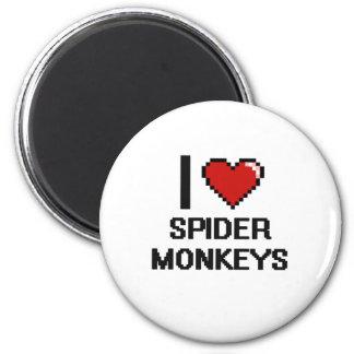 I love Spider Monkeys Digital Design 2 Inch Round Magnet