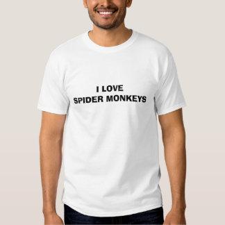 I LOVE SPIDER MONKEYS TEE SHIRTS