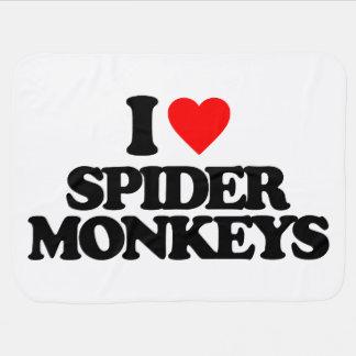 I LOVE SPIDER MONKEYS STROLLER BLANKET
