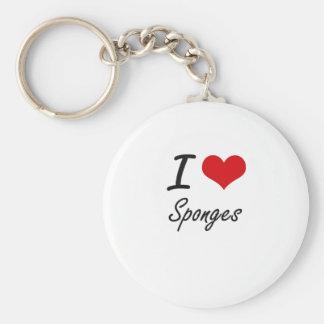 I love Sponges Basic Round Button Key Ring