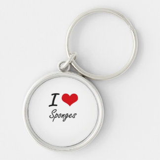 I love Sponges Silver-Colored Round Key Ring