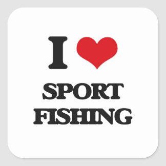 I Love Sport Fishing Square Sticker