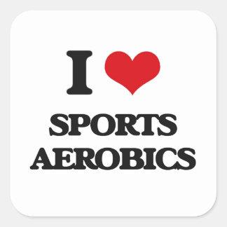 I Love Sports Aerobics Square Sticker