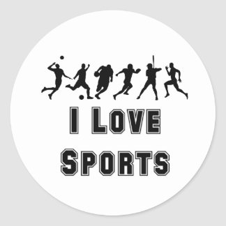 I Love Sports Round Sticker