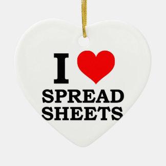 I Love Spreadsheets Ceramic Heart Decoration