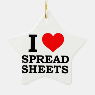 I Love Spreadsheets Ceramic Star Decoration