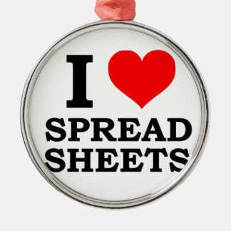 I Love Spreadsheets Silver-Colored Round Decoration
