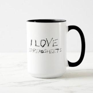 I love spreadsheets - urban, edgy office mug