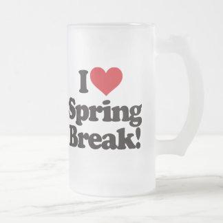 I Love Spring Break! Frosted Glass Mug