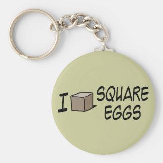I Love Square Eggs Key Chain