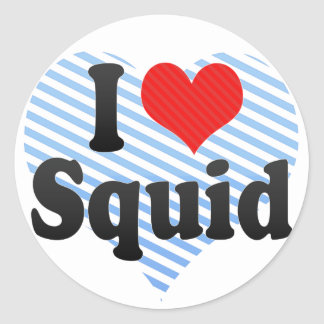 I Love Squid Classic Round Sticker