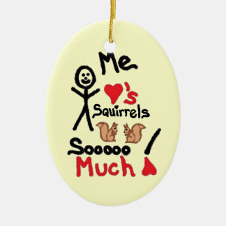I Love Squirrels Cartoon Christmas Ornament