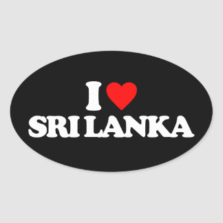 I LOVE SRI LANKA OVAL STICKER