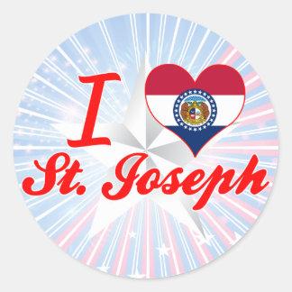 I Love St.Joseph, Missouri Round Sticker