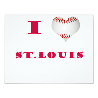 I Love St. Louis Heart Shaped Baseball Red Letters 11 Cm X 14 Cm Invitation Card