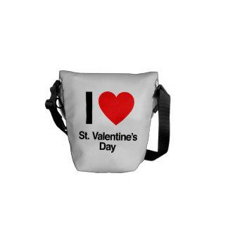 i love st. valentine's day messenger bags