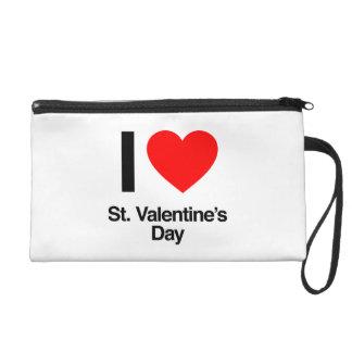 i love st. valentine's day wristlet purse