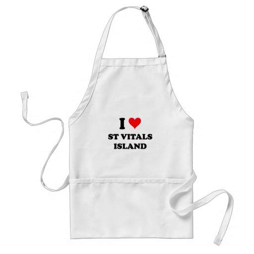 I Love St Vitals Island Michigan Apron