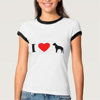 I Love Staffordshire Terriers Ladies Ringer TShirt