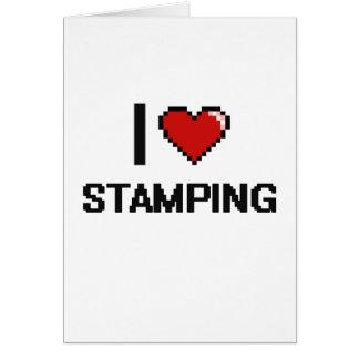 I Love Stamping Digital Retro Design Greeting Card
