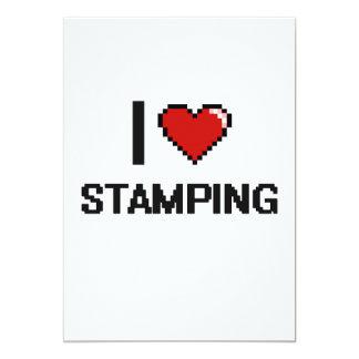"I Love Stamping Digital Retro Design 5"" X 7"" Invitation Card"